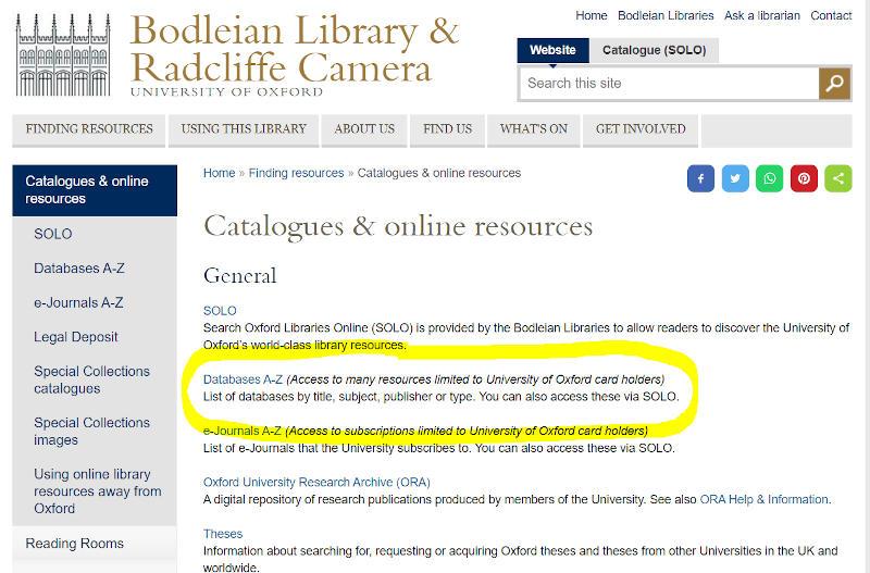 Bodelean Database Link
